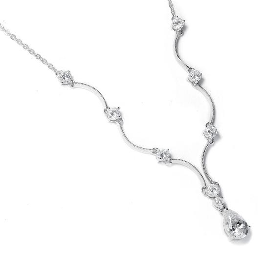 Mariell Silver Classic Cubic Zirconia Teardrop 660n Necklace