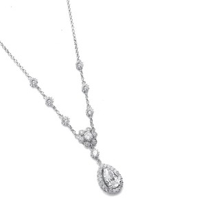 Mariell Silver Cubic Zirconia Pendant with Pear Shaped Drop 689n-s Necklace