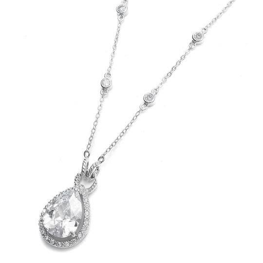 Mariell Silver Large Cz Pear Drop 341n Necklace