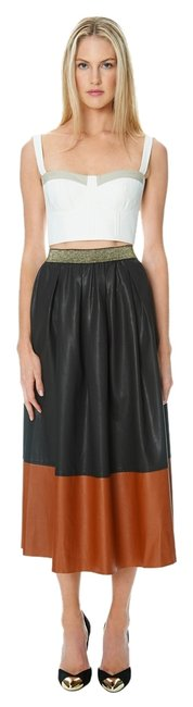Champagne Strawberry Brown Leather Faux Leather Maxi Skirt Black