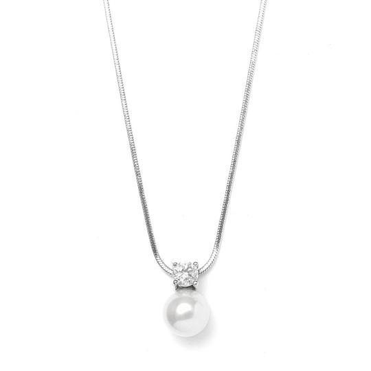 Mariell Silver Pearl Cz Solitaire 412n Necklace