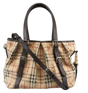 Burberry Lowry Haymarket Check Tote in Beige & Brown