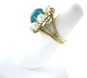 Vintage 14KT YELLOW GOLD PEARL TURQUOISE VINTAGE ANTIQUE 4.7DWT HALLMARK FLOWER SZ6.5