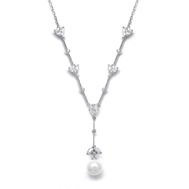 """Item - Silver/White Cz Trillions """"Y"""" with Pearl N080 Necklace"""