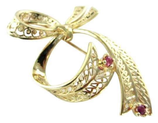 Vintage 14K YELLOW GOLD PIN BROOCH BOW RUBY RUBIES 3.9DWT HALLMARK ANTIQUE VINTAGE RETRO