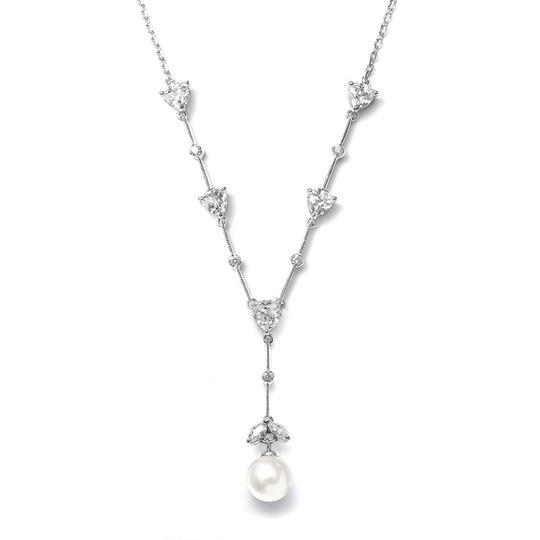 "Mariell Cz Trillions ""y"" Necklace With Pearl N080-i-s"