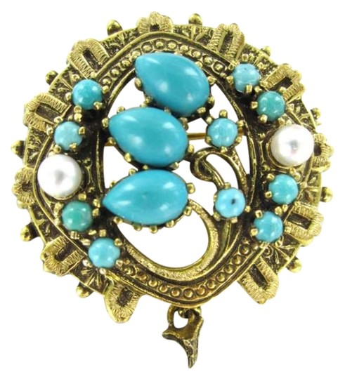 Preload https://item2.tradesy.com/images/gold-14kt-yellow-pin-brooch-76dwt-turquoise-pearl-pendant-victorian-necklace-349331-0-0.jpg?width=440&height=440