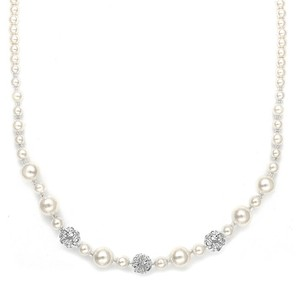 Mariell Best Selling Bridal Necklace With Pearls & Rhinestone Fireballs 1125n