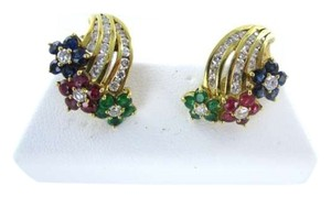 Vintage 14KT YELLOW GOLD EARRINGS 42 DIAMOND RUBY SAPPHIRE FLOWER EMERALD 5.6DWT JEWELRY
