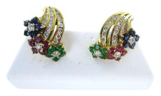 Preload https://img-static.tradesy.com/item/349335/yellow-gold-14kt-earrings-42-diamond-ruby-sapphire-flower-emerald-56dwt-necklace-0-0-540-540.jpg