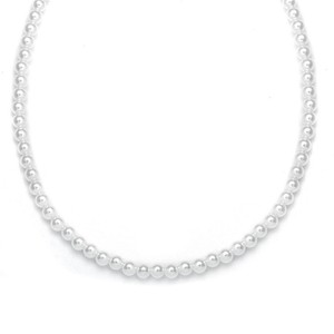 Mariell Single Strand 6mm Pearl Wedding Necklace 182n