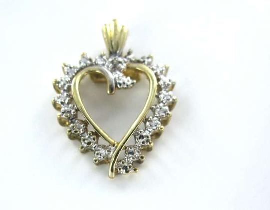 Vintage 10KT YELLOW GOLD PENDANT HEART LOVE .9DWT AFJC 1 DIAMOND SWEETHEART VALENTINE