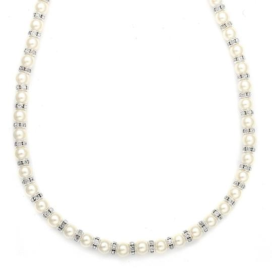 Mariell Mariell Alternating Pearl And Rondelle Wedding Necklace 189n