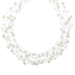 Mariell Lavish 6-row Pearl & Crystal Bridal Illusion Necklace 2101n