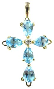 Vintage 14KT YELLOW GOLD PENDANT CHARM CROSS BLUE TOPAZ 1.1DWT 1 DIAMOND GOOD LUCK FAITH
