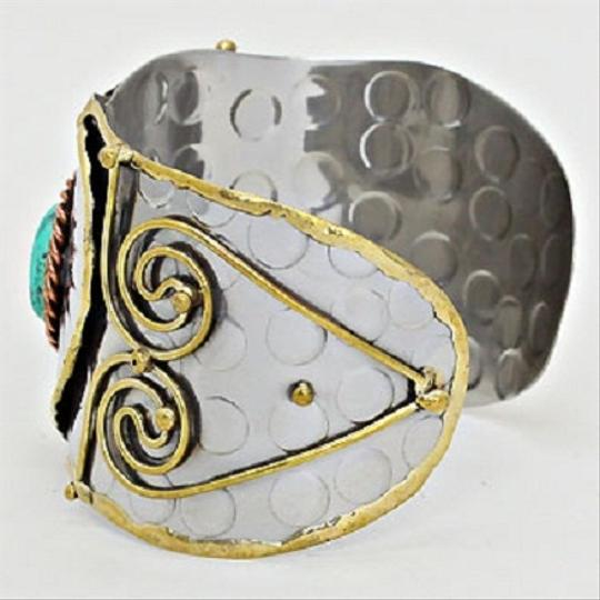 Other Art Deco Hammered Metal Turquoise Accent Tribal Heart Swirl Cuff Bracelet