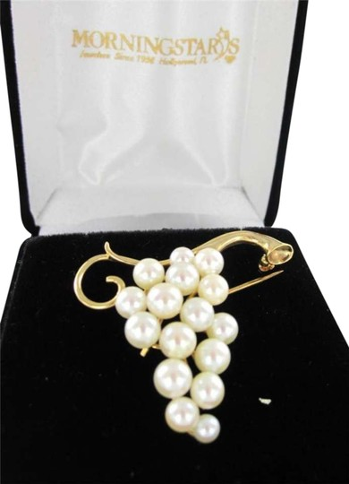 Vintage 14KT YELLOW GOLD VINTAGE PIN BROOCH GRAPES PEARL 5.2DWT RETRO CLUSTER VICTORIAN