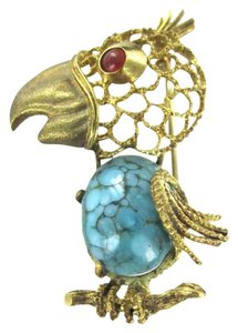 Vintage 18KT YELLOW GOLD PIN BROOCH PARROT PEACOCK TURQUOISE 5.5DWT HALLMARK ANTIQUE