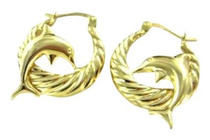 Vintage 14KT YELLOW GOLD EARRINGS DOLPHINS HOOP ARPAS HALLMARK SIGN DOLPHIN 2.9GRAMS