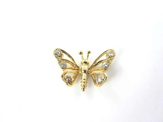 Vintage 10 KT YELLOW GOLD PENDANT BUTTERFLY 6 DIAMOND 0.8DWT FINE JEWELRY JEWEL CHARM