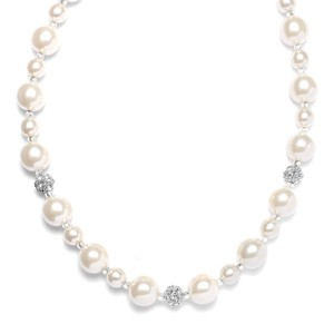 Mariell Pearl Wedding Necklace With Rhinestone Fireballs 878n