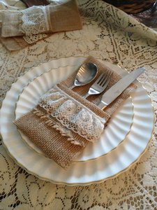 125 Burlap Silverware Holders