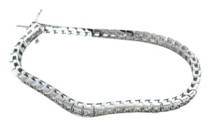 Vintage DIAMOND TENNIS 14K WHITE GOLD BRACELET COGNAC COLOR 54 DIAMONDS 2.70 CARAT FINE