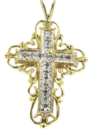 Vintage 14KT YELLOW GOLD PENDANT CHARM CROSS CHRISTIAN 2.1DWT SCROLL 17 DIAMOND JESUS