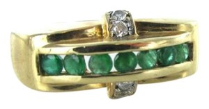 Vintage 14KT YELLOW GOLD RING DIAMOND EMERALD 3.0DWT COCKTAIL SZ8 A EVER MORE ENGRAVED