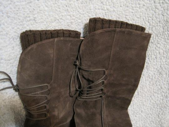 Lands' End Suede Knit Brown Boots