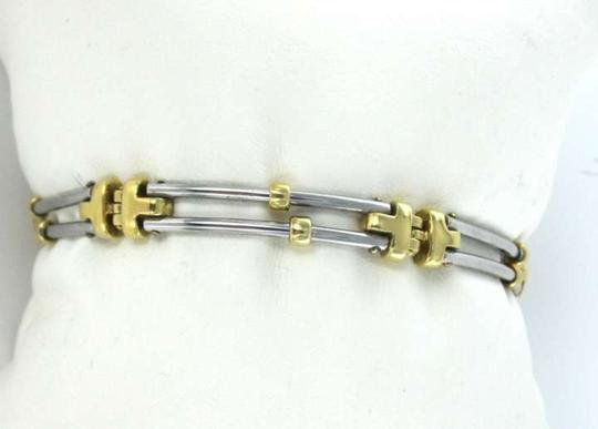 Vintage 18KT WHITE & YELLOW GOLD BRACELET LINK BARS BANGLE 19.7DWT UNISEX 2 ROWS JEWELRY