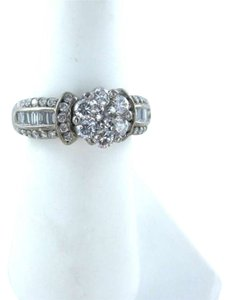 Vintage 14K WHITE GOLD WEDDING BAND RING 55 DIAMONDS ENGAGMENT MARRIAGE JEWELRY LUXURY