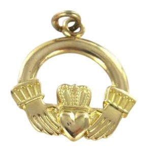 Vintage 14K YELLOW GOLD PENDANT CHARM CLADDAGH IRISH 19x14MM 1.1DWT LOYALTY FRIENDSHIP