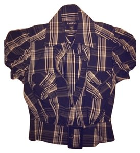 bebe Plaid Summer Top Black and White