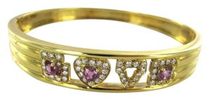 Vintage 18KT YELLOW GOLD DIAMOND LOVE BRACELET MAYOR'S JEWELRY PRECIOUS STONE BANGLE