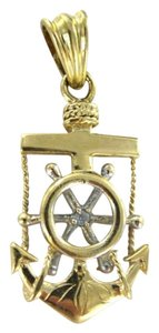 Vintage 14KT YELLOW GOLD PENDANT MARINER ANCHOR CROSS SAILOR SEA TIDE CAPTAIN SHIP WHEEL