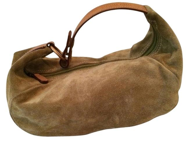 Item - Mini-bag Light Green Suede with Leather Trim Baguette