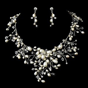 Elegance By Carbonneau Freshwater Pearl And Crystal Wedding Jewelry Set