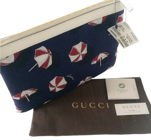 Gucci NWT GUCCI Blue and white Canvas Umbrella Tip Top Cosmetic Pouch Bag
