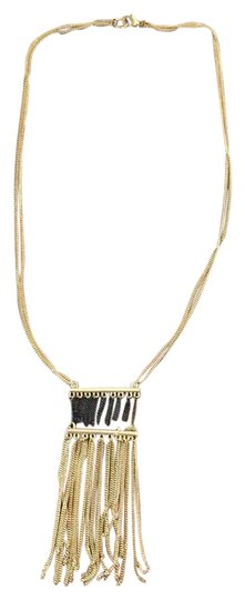 Other Long Tassel Gold And Black Necklace