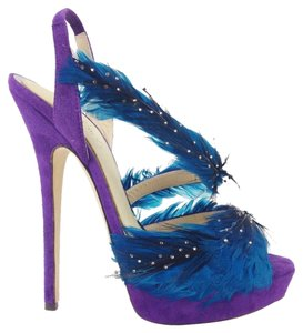 Jimmy Choo Stiletto Suede Feather Marlene Blue Feather Embellished Crystal Goose Feather Violet & Turquoise Pumps