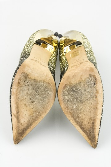 Jimmy Choo Silver Black and Gold Pumps