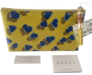 Gucci NWT Gucci Woman's Hearts Pouch Bag Medium Cosmetic Case Leather