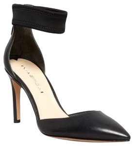 Via Spiga New Classic Leather Pointed Toe Ankle Straps Slim Heel Black Pumps