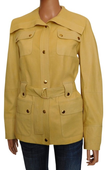 St. John Pale Yellow Leather Jacket