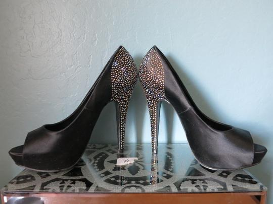 Steve Madden Rhinestones Formal Satin Peep Toe Playy-r Black Platforms