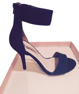 Jeffrey Campbell Sueded Leather Snake Stamped Navy Blue Sandals