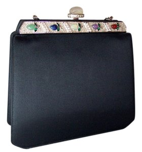 Judith Leiber Evening Satin Vintage Chain Convertible Clutch Shoulder Bag