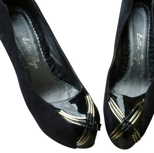 Bettie Page Banana Heel High Heels Black and Silver Platforms