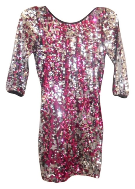 Item - Pink and Silver Party Mini Formal Dress Size 8 (M)